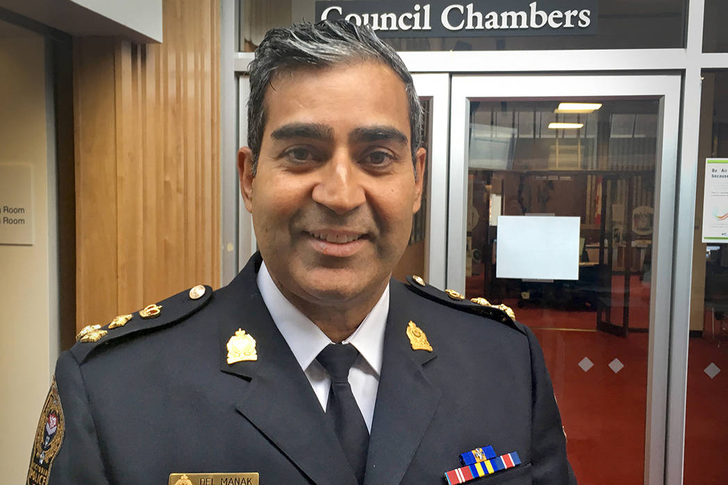VicPD Chief Const. Del Manak presented a third quarter update at city hall Thursday morning. (Lauren Boothby/VICTORIA NEWS)