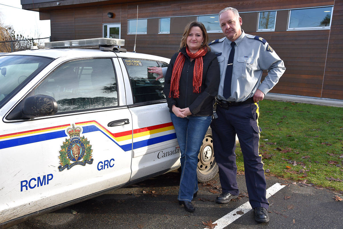 Denise Tutte and Ladysmith RCMP Staff-Sgt. Ken Brissard have both lost families members due to impaired driving, or suspected impaired driving. (Mike Gregory Photo)