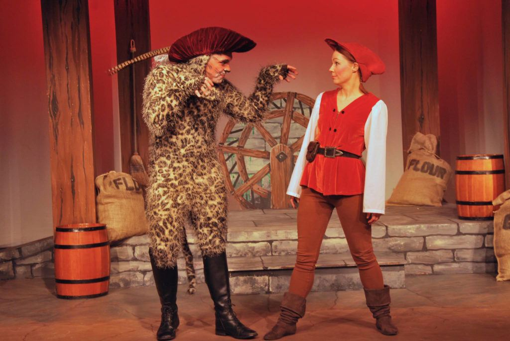 Jack (Tasha Ballantyne, right) discovers that her cat Puss (Randy Humchitt) can talk during rehearsals for Puss in Boots at Bailey Studio on Dec. 14. (Josef Jacobson/The News Bulletin)