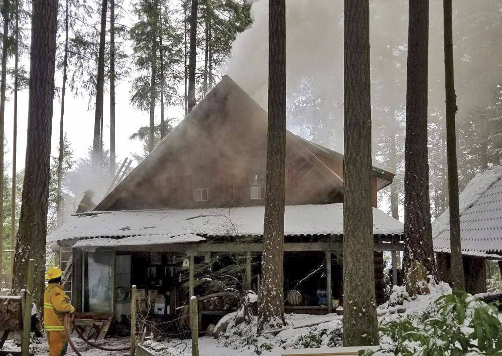 The community is rallying behind the Patterson/Roberts family, who lost much of their possessions to a fire at their Malahat home on Christmas Day. (Contributed photo).