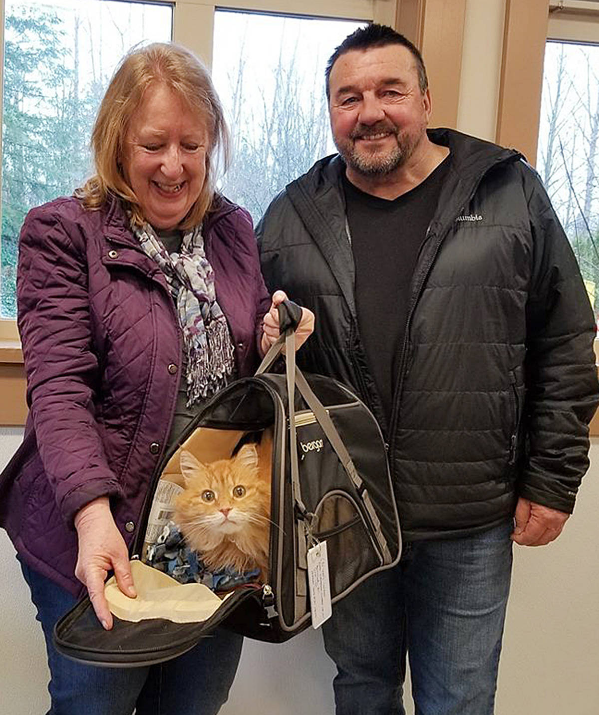 Nikko (a.k.a. Marigold) was reunited with her family, Irene and Brian Wade, Wednesday at the Langley Animal Protection Society's shelter in Aldergrove. What a bizarre story this cat could tell, if it could speak English. (Special to the Langley Advance)