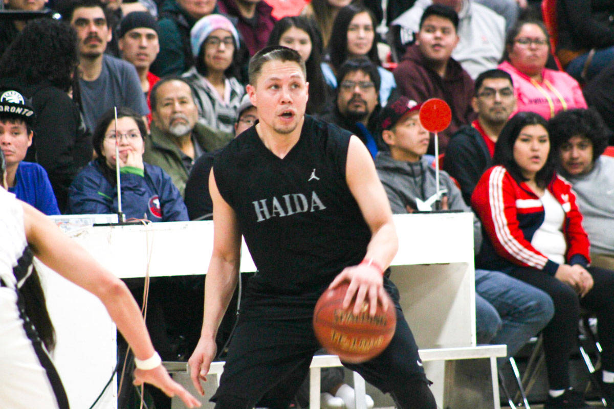Vince Edenshaw played against Skidegate in the 59th All Native Basketball Tournament before being detained by Canada Border Services Agency. (Matthew Allen / The Northern View)