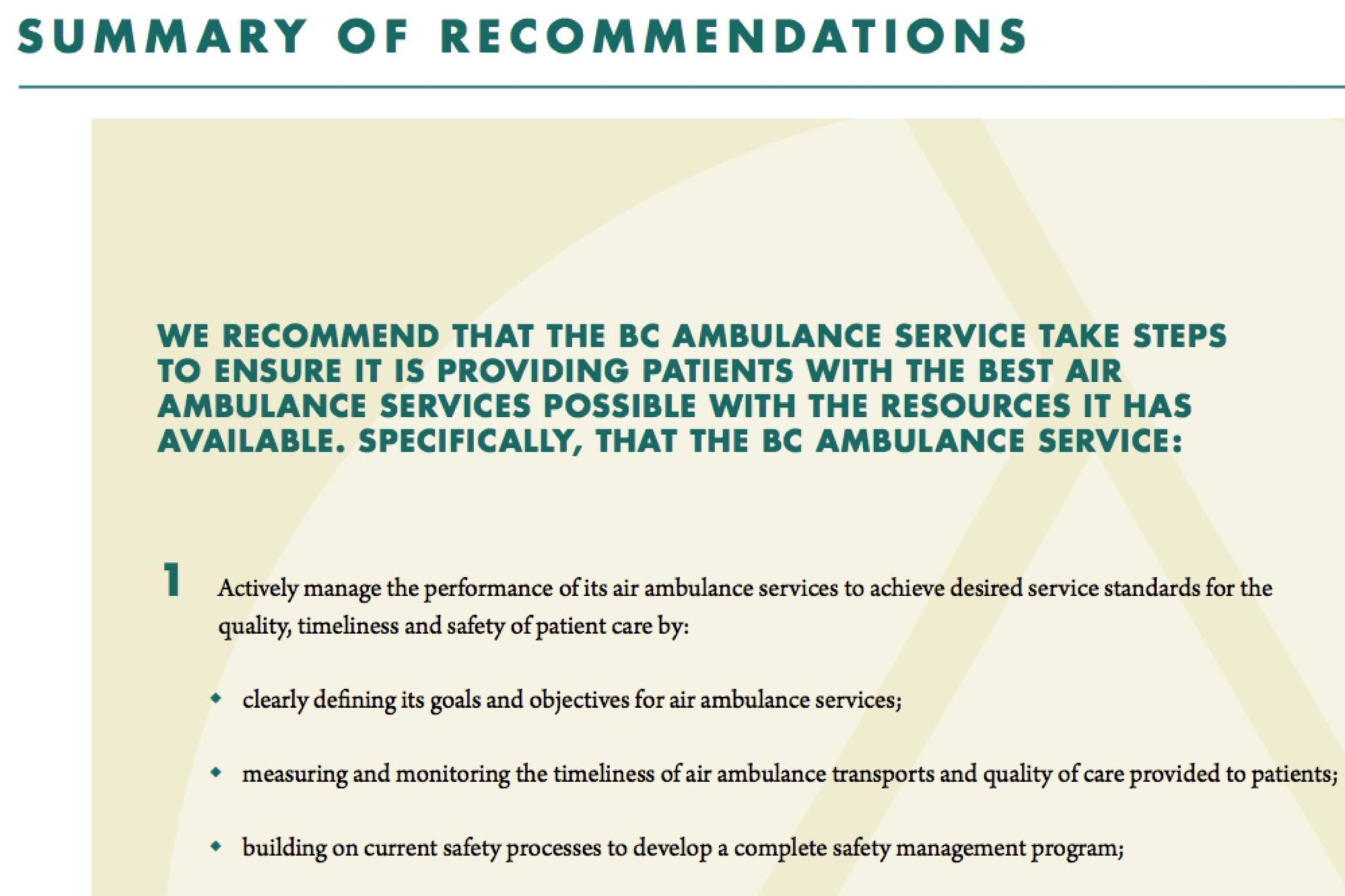 A screen grab of one of the recommendations from BC Auditor General's report.