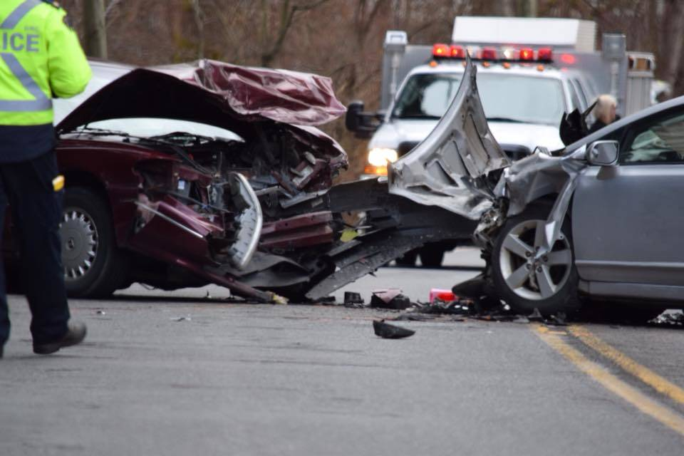 The head-on crash damaged two vehicles in Tuesday afternoon's accident. (Alistair