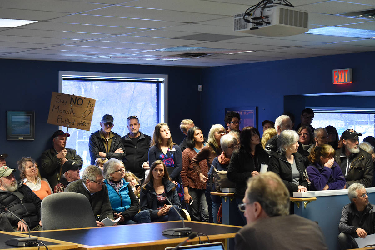 The CVRD boardroom was filled to above capacity on Monday with residents opposed to the proposed water bottling business. Photo by Scott Strasser.