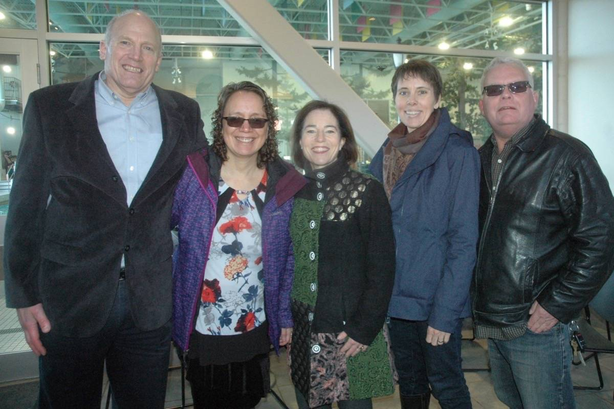 The Cowichan Aquatic Centre will receive almost $2.4 million from the Federal Gas Tax Fund for a major refit, it was announced at event at the facility on March 9. Pictured, from left, are North Cowichan Mayor Jon Lefebure, Cowichan Tribes Councillor Francine Alphonse, Selina Robinson, B.C.'s Minister of Municipal Affairs and Housing, Sonia Furstenau, MLA for Cowichan Valley, and Duncan Mayor Phil Kent. (Robert Barron/Citizen)