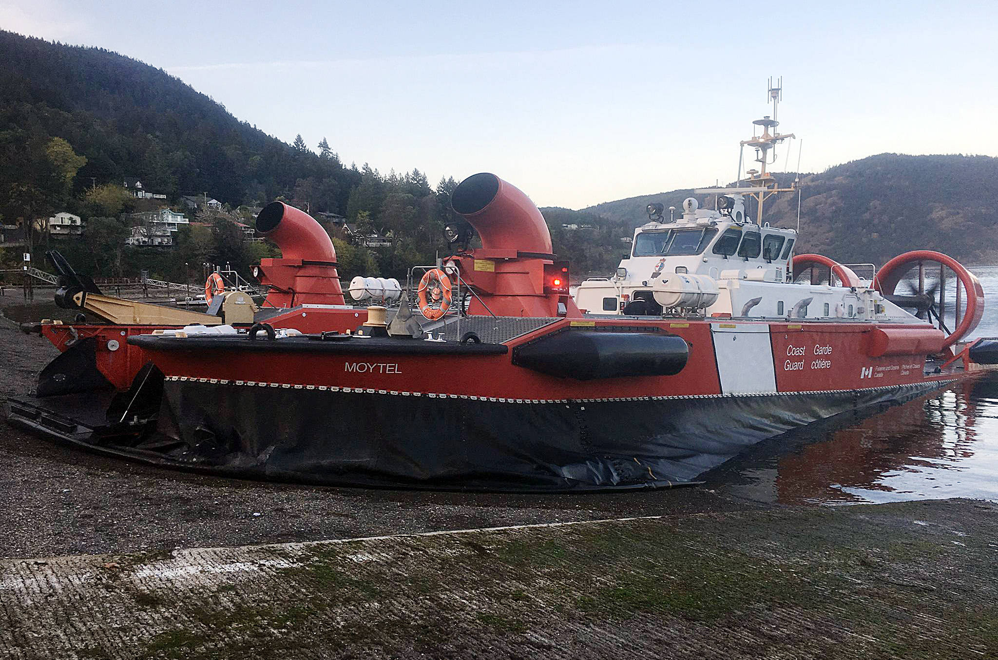 The Cowichan SAR crew got to join their injured hiker and her husband in a ride back to Maple Bay in this hovercraft: a new experience for everyone. (Submitted)