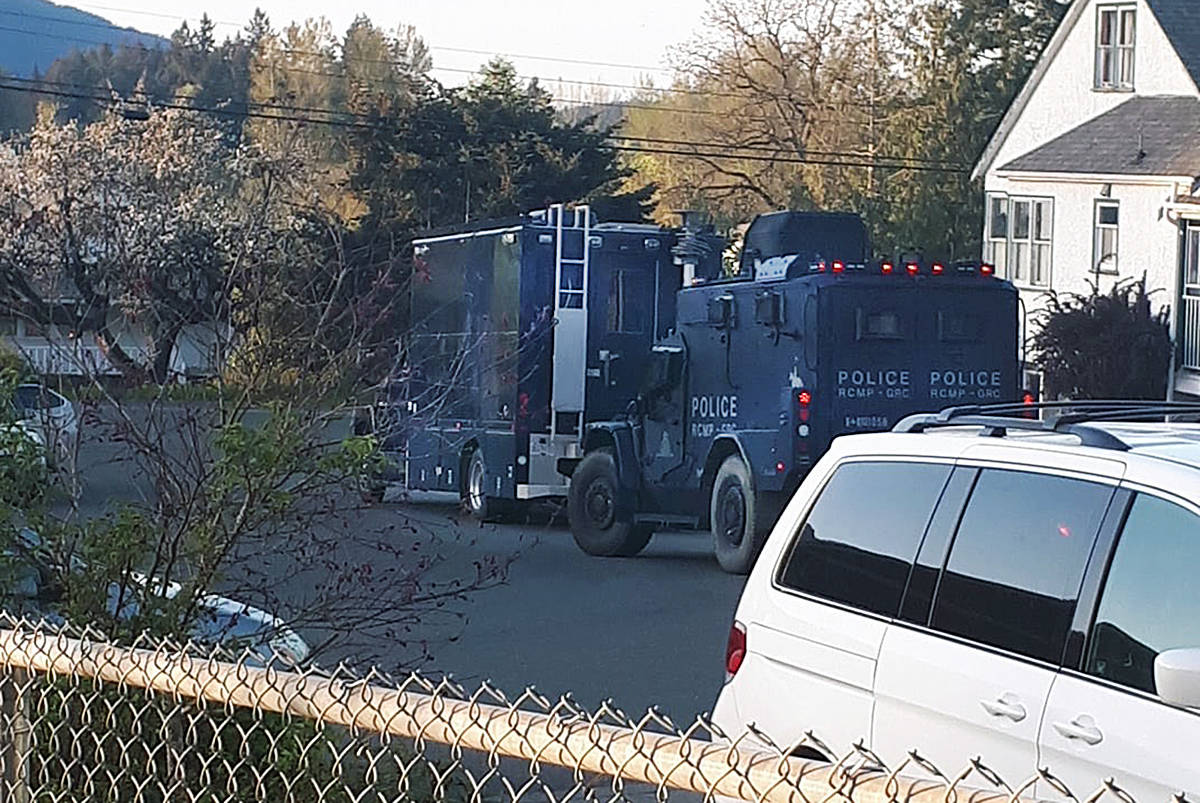 The sight of these RCMP vehicles and other police cars caused a furor among Auchinachie and Drombeg Road residents as Mounties dealt with a man who had barricaded himself in a house. (Submitted)