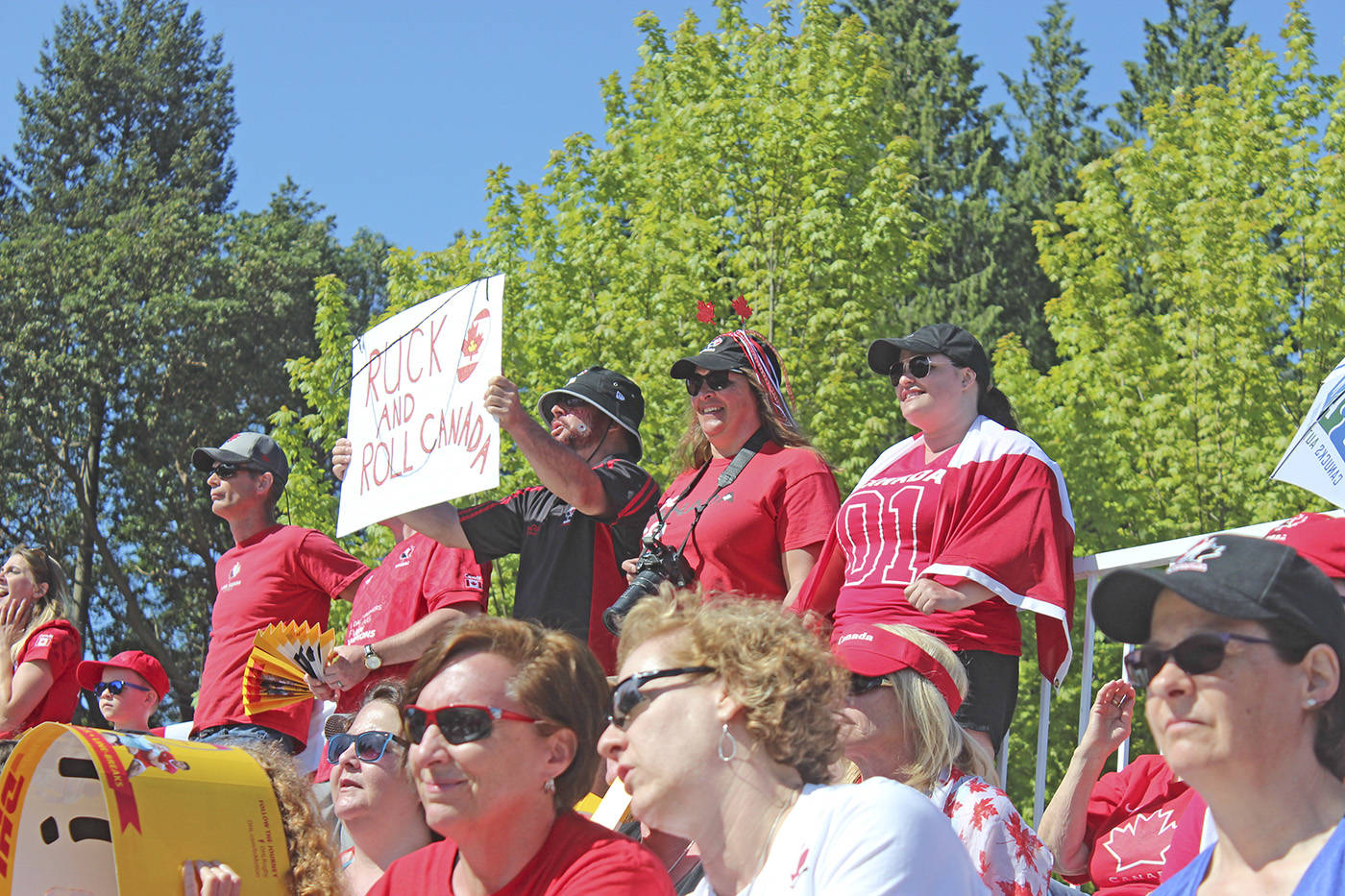 Fans cheer on Canada's women's sevens team in the quarterfinal match against the USA at Westhills Stadium in Langford Sunday. Canada lost 28-26 to the USA. (Kendra Wong/News Gazette staff)