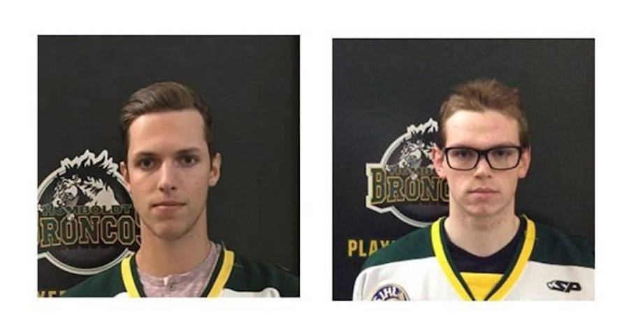 Humboldt Broncos players Xavier Labelle (left) and Parker Tobin (right) are shown in undated team photos. A coroner involved in the Humboldt Broncos bus crash says it wasn't until an injured player woke up in hospital and said he was a different person that officials realized there had been a big mistake in identifying the dead. THE CANADIAN PRESS/Saskatchewan Junior Hockey League