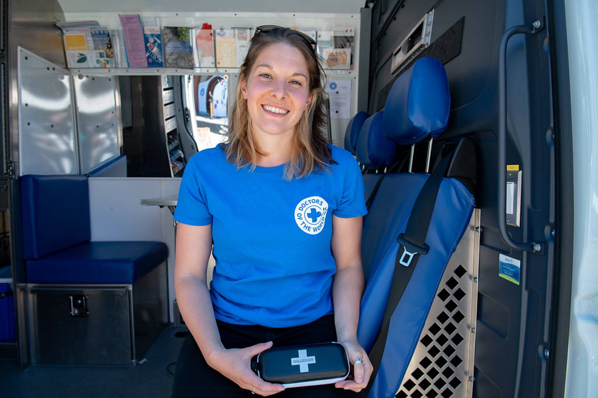 Registered nurse and program co-ordinator Maude Blanchette Lamothe sits inside the new Victoria mobile health clinic, a joint program between Doctors of the World and Telus Health. The mobile clinic will work with members of the city's street community to provide health care to those who might otherwise fall through the cracks. Photo courtesy Telus Health