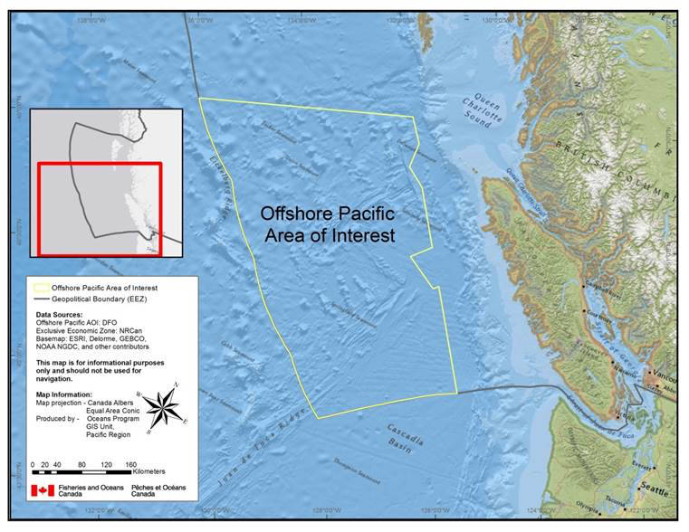 Image courtesy of DFO                                The proposed Offshore Pacific Marine Protected Area, above, is in consultation with partners and stakeholders. The government of Canada is working towards having it declared a Marine Protected Area by 2020.