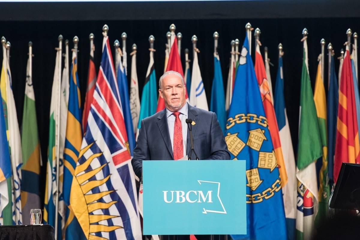 Premier John Horgan speaks at the 2017 Union of B.C. Municipalities convention in Vancouver. (Jesse Yuen/UBCM)