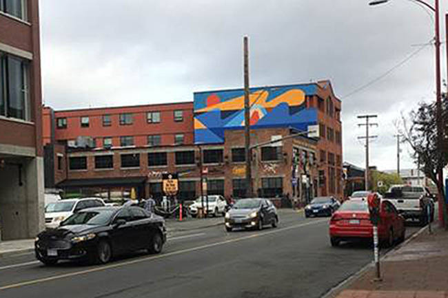 Victoria Cool Aid Society and its partners will unveil a new mural Tuesday morning on the side of their Wharf Street building. (Photo contributed)