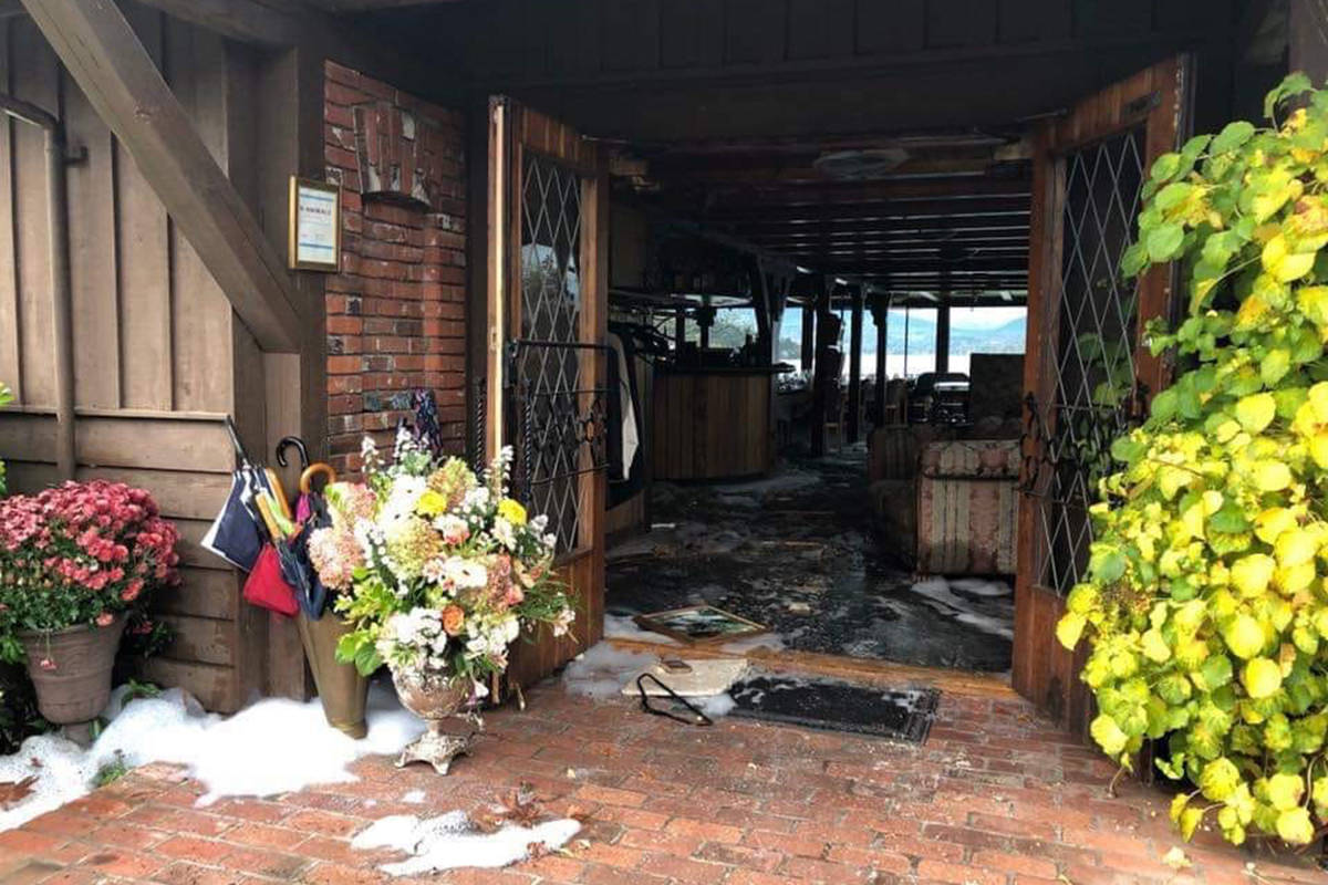 This photo, posted to social media Sunday shows extensive damage to the dining room at Deep Cove Chalet after a fire broke out in the North Saanich restaurant late Saturday evening. (Liz Waibel/Facebook)