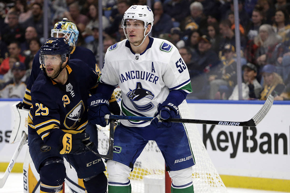 Buffalo Sabres forward Jason Pominville (29) and Vancouver Canucks forward Bo Horvat (53) battle for position during the second period of an NHL hockey game, Saturday, Nov. 10, 2018, in Buffalo N.Y. (AP Photo/Jeffrey T. Barnes)