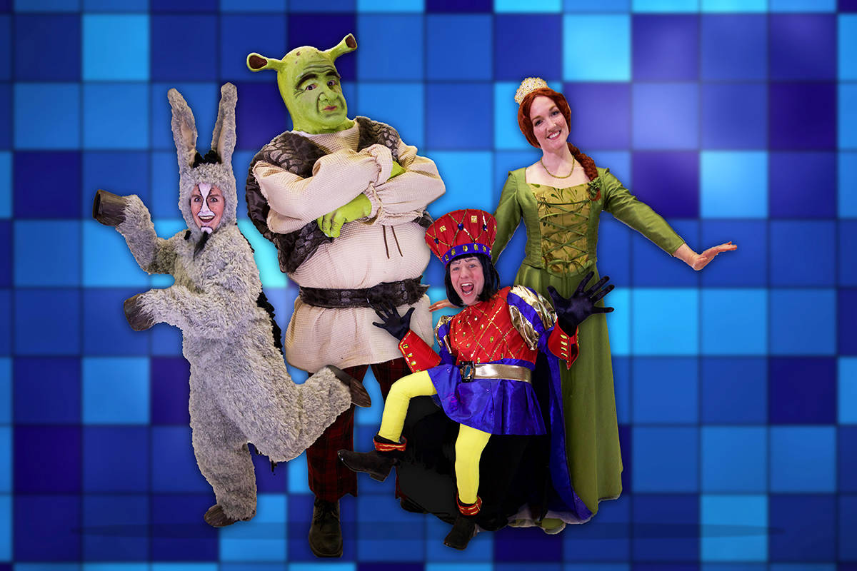 The lead characters from Shrek the Musical will delight audience members of all ages in this Victoria Operatic Society production. It takes to the stage at the McPherson Playhouse May 3-12. Image courtesy VOS
