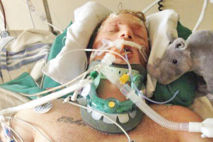 Ryan Jones in intensive care at Vancouver General Hospital shortly after a collision in Fort St. John May 20, 2016 left him for all intents and purposes dead. (Submitted photo)