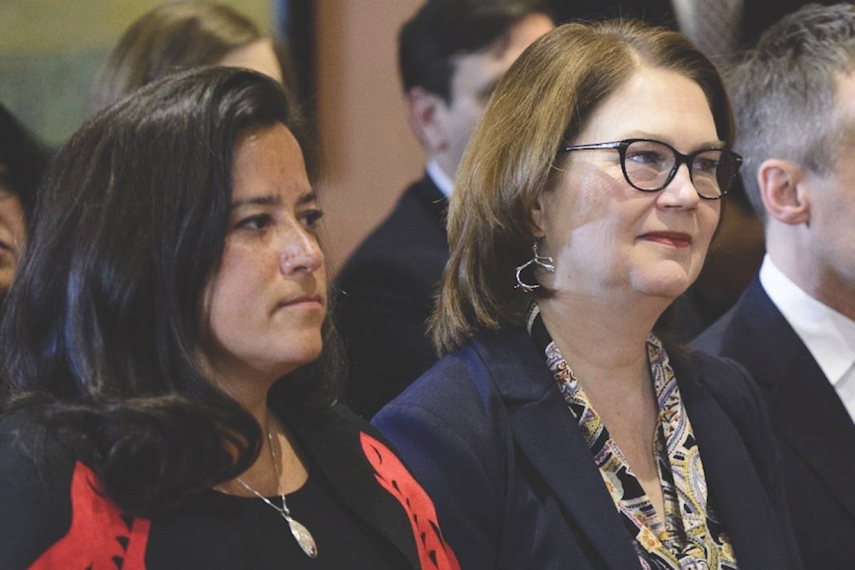 In this file photo MPs Jody Wilson-Raybould and Jane Philpott were at Rideau Hall in Ottawa on Jan. 14, 2019. (File photo by THE CANADIAN PRESS)