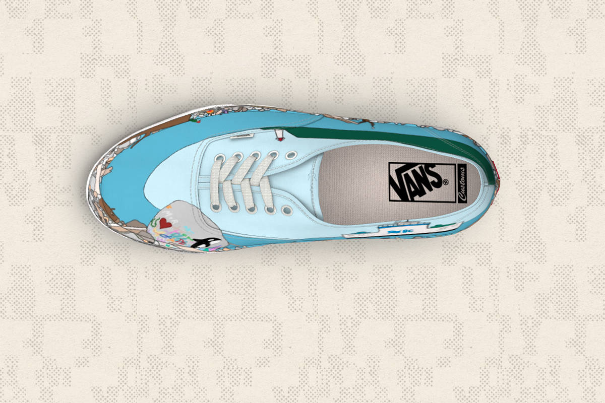 The Campbell River shoreline is featured on a shoe designed by local mom Mellissa Davis for the 2019 Vans Global Custom Culture shoe design contest. Screenshot of design/Vans.ca