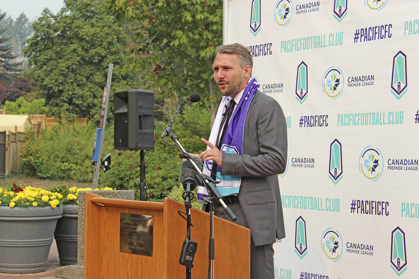 Michael Silberbauer was named the first head coach of the Pacific FC during a press conference at the City Center Park Pond in Langford. (Black Press Media file photo)