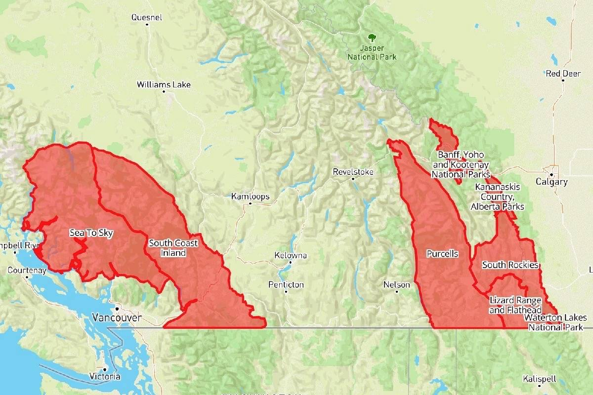 Avalanche warning issued for southern B.C. mountains