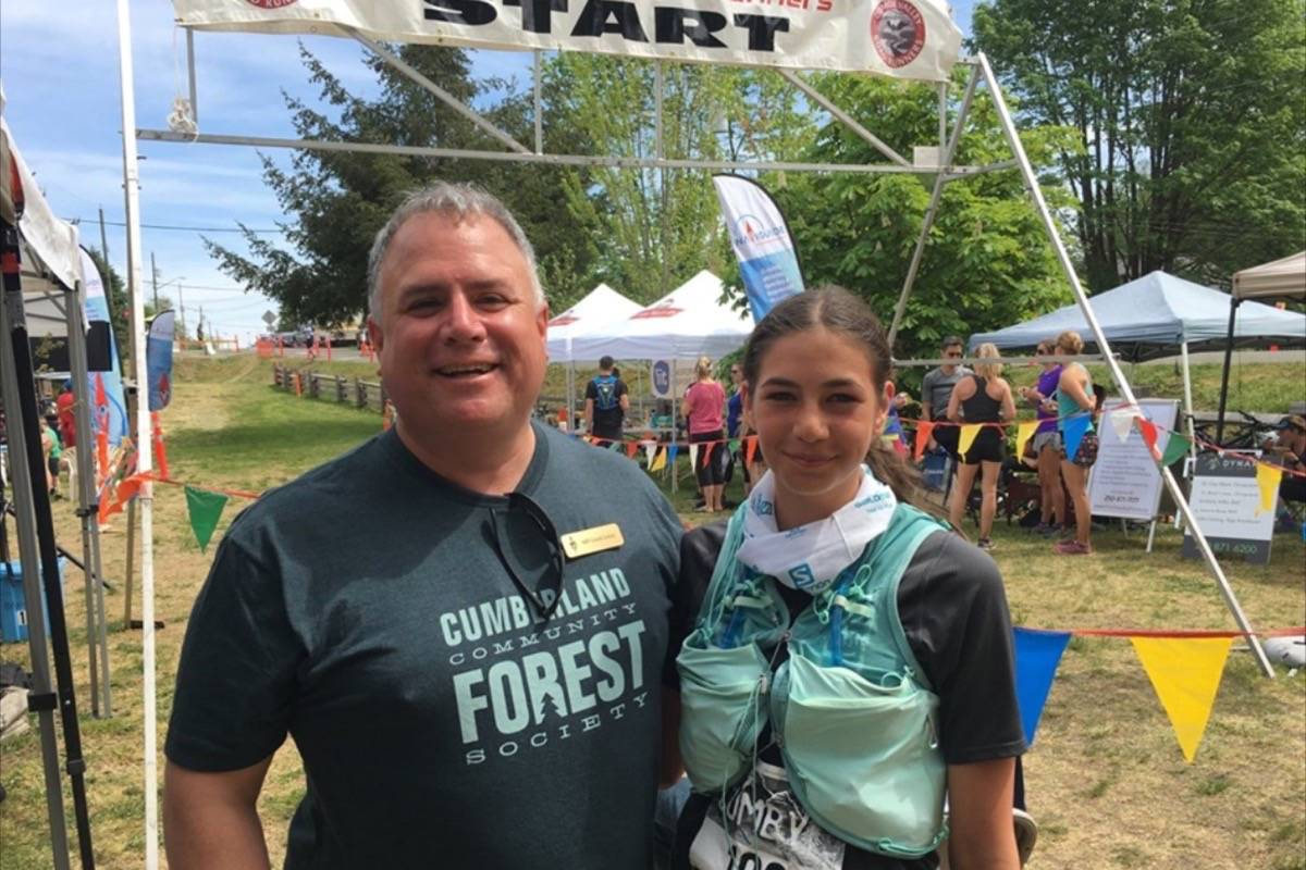 """Courtenay-Alberni MP Gord Johns and Mackenzie Loyer at an annual race through the Cumberland Forest called the """"Cumby."""" (FACEBOOK PHOTO)"""