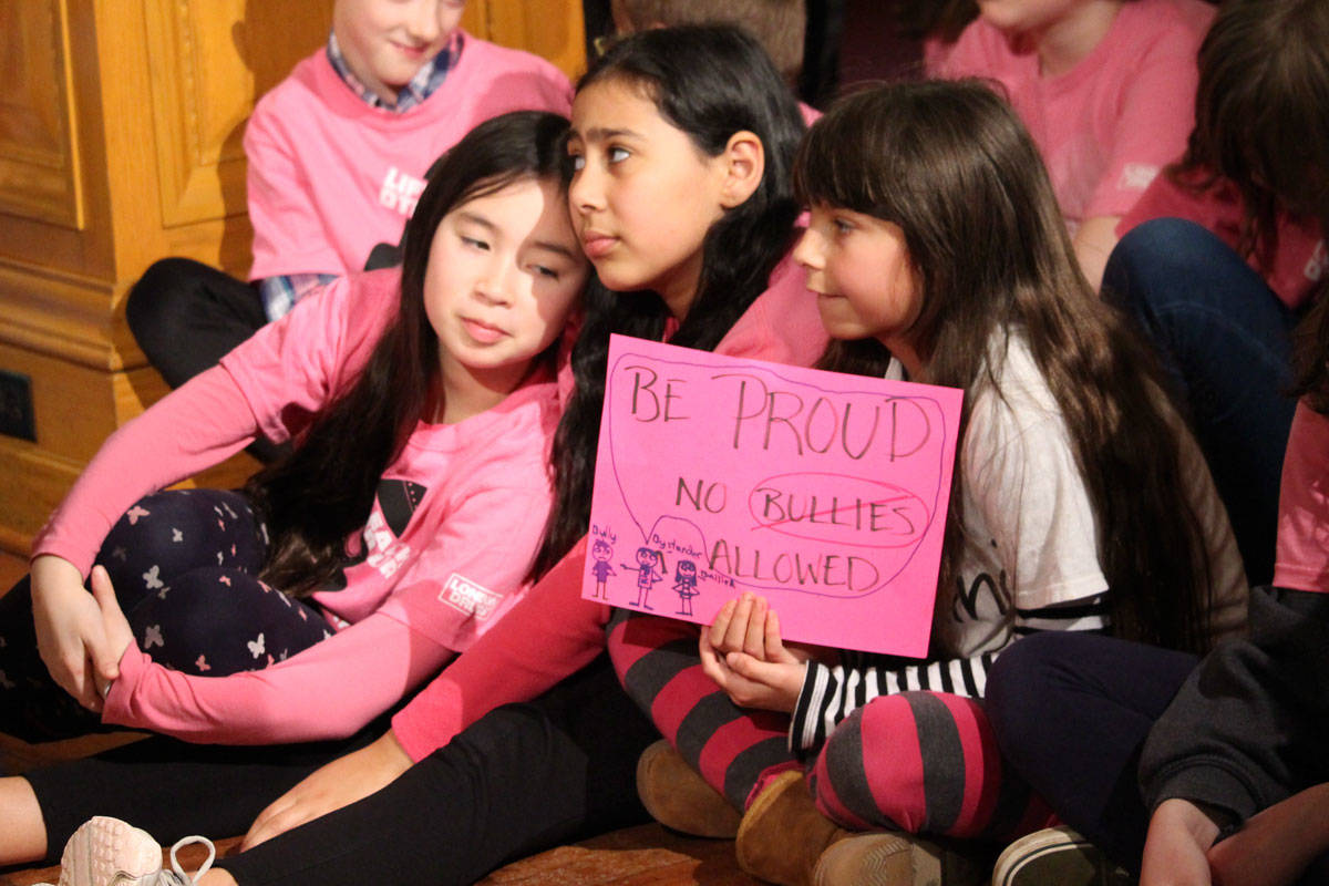 The 13th annual Pink Shirt Day took place on Feb. 25, with students and politicians gathering at the B.C. Legislature to say no to bullying. (Shalu Mehta/News Staff)