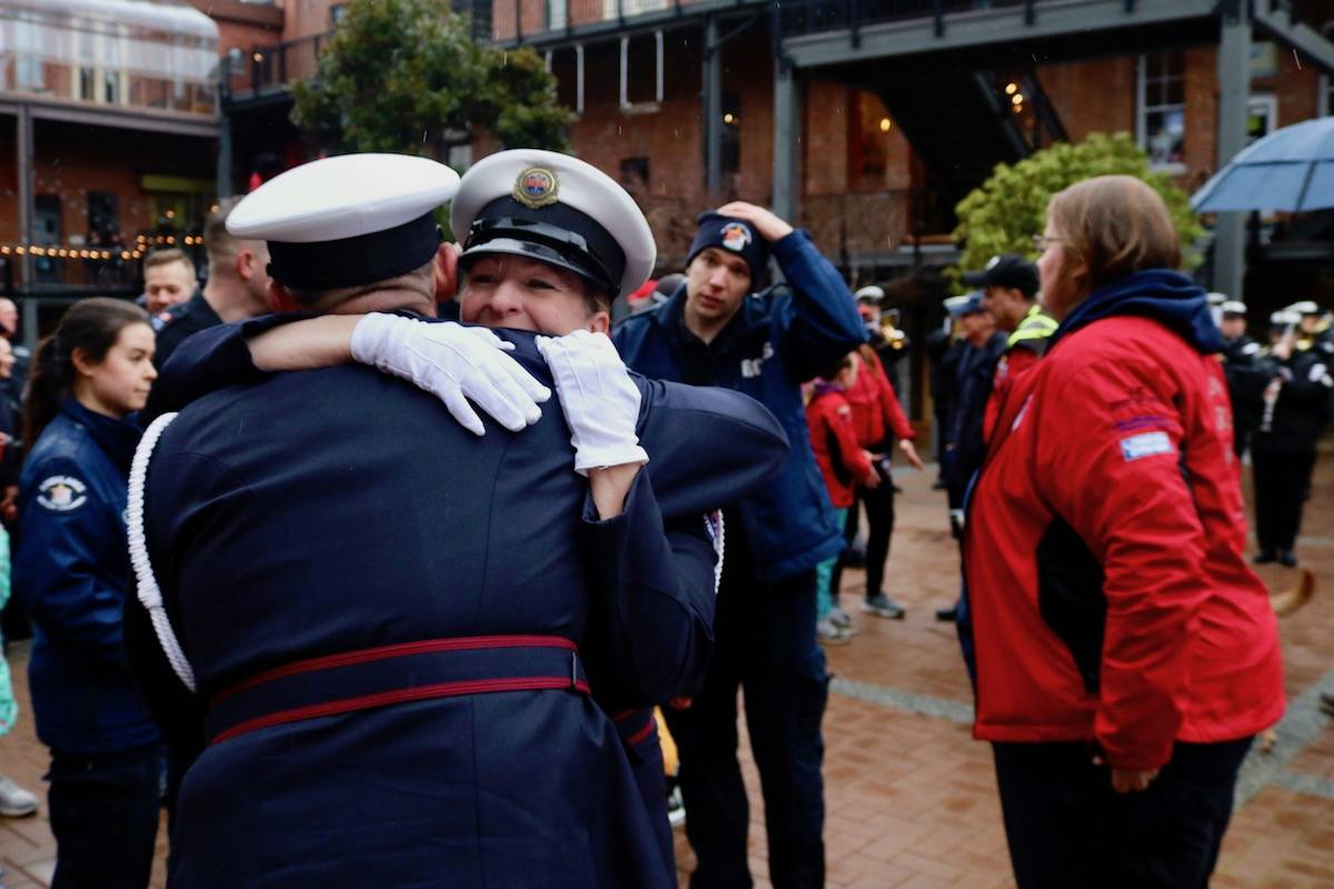 Dozens came to Victoria's Market Square to celebrate the end of Wounded Warriors Run, a 600 km relay race from Port Hardy to the B.C. capital over eight days. (Aaron Guillen/News Staff)
