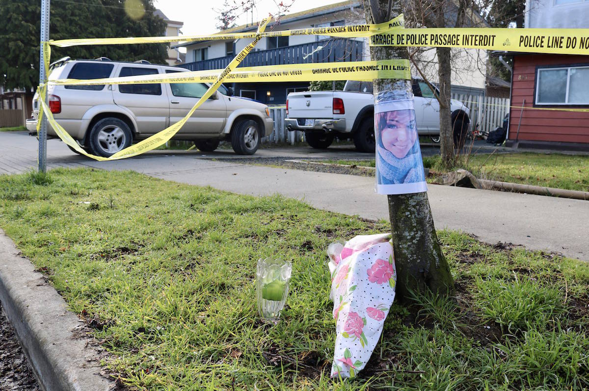 A memorial has been started outside the home where a 40-year old Langford mother was shot and killed on Friday night. Friends have identified her as Angela Dalman, though police have yet to identify the victim. (Aaron Guillen/News Staff)