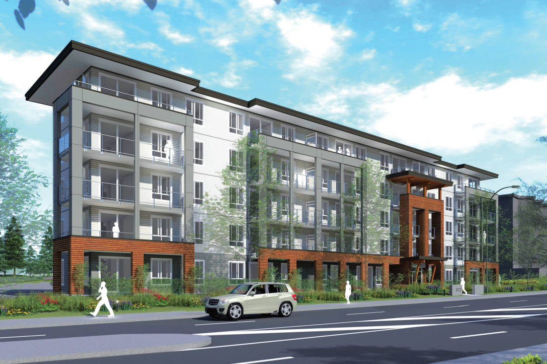 Nanaimo city council, at a meeting April 6, unanimously approved issuing a development permit to Denciti Development Corporation for a 108-unit residential building at 6117 Uplands Dr. (Integra Architecture Inc./Denciti Development Corp. image)