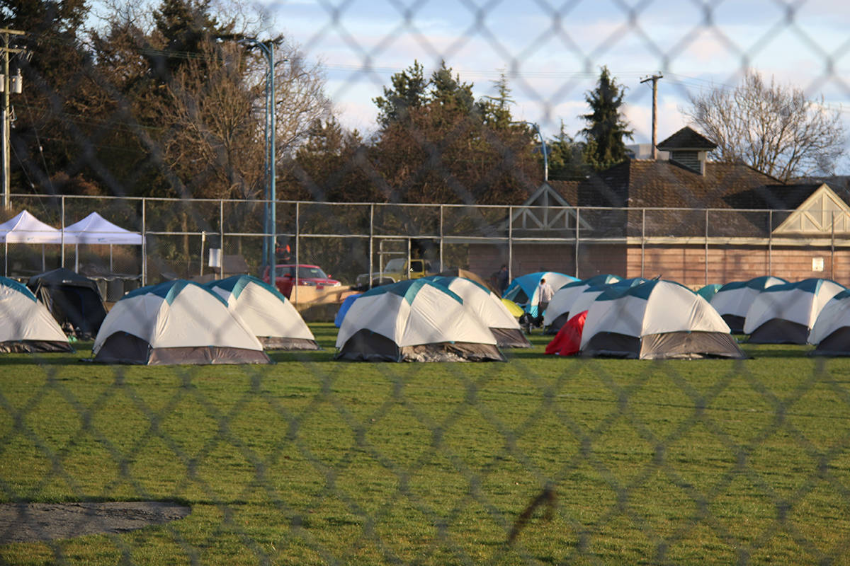 More than 200 tents have been spread out over Topaz Park. (Kendra Crighton/News Staff)