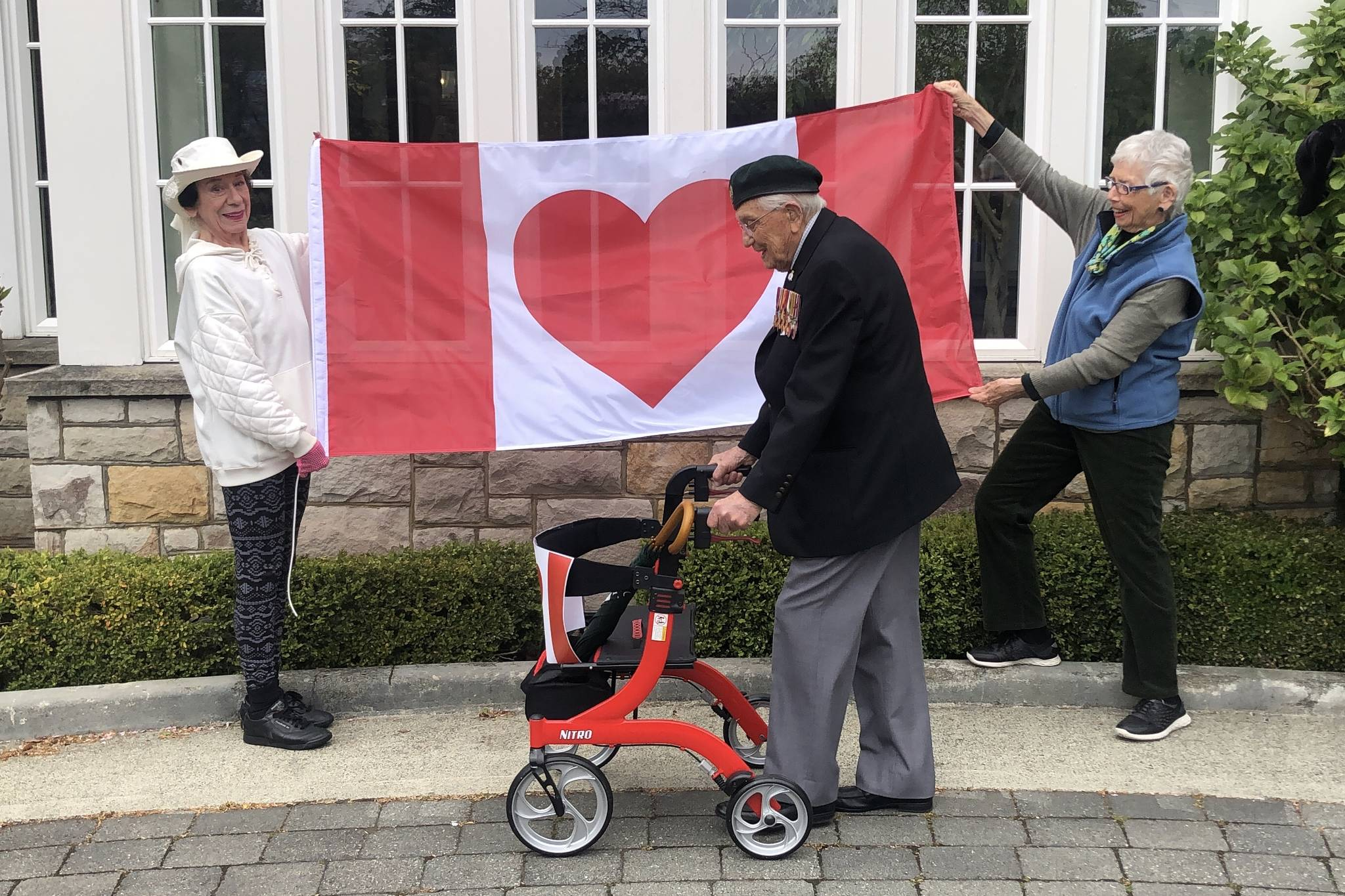 Oak Bay resident John Hillman is walking 101 laps around the Carlton House driveway to raise money and awareness for Save the Children Canada. The veteran of the Second World War is doing five laps a day for 20 days, inspired by Capt. Tom Moore in England who did 100 laps of his garden. (Travis Paterson/News Staff)