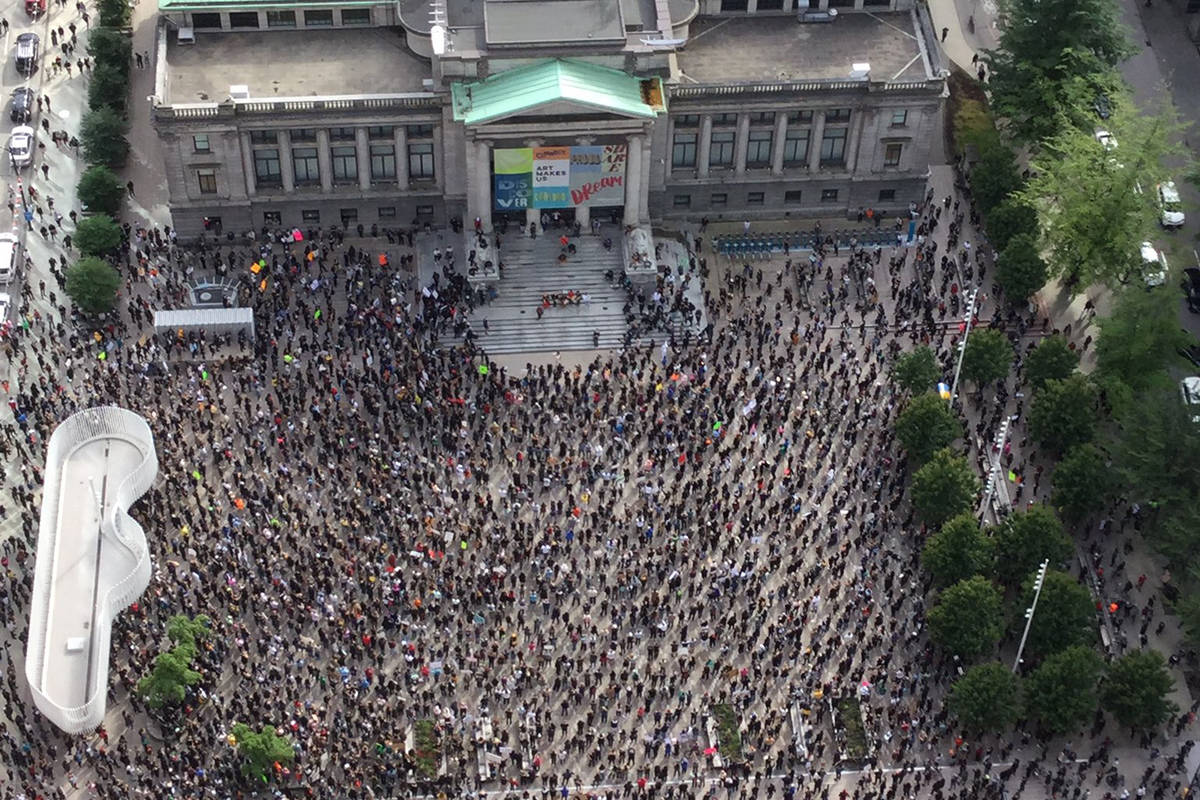 PHOTOS: Thousands gather at Vancouver Art Gallery to protest racism