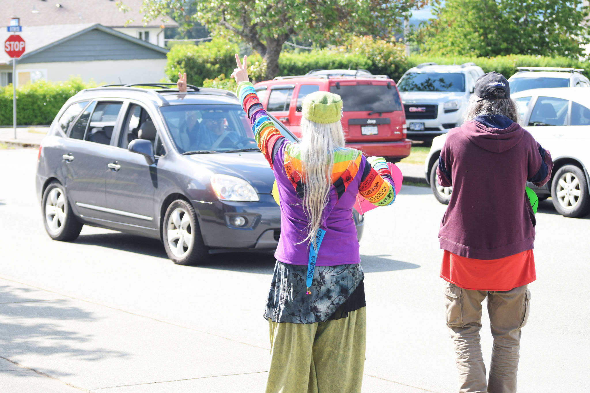 People in Port Alberni took part in a socially-distanced peaceful protest parade outside of the RCMP detachment on Thursday, June 4. (ELENA RARDON / ALBERNI VALLEY NEWS)