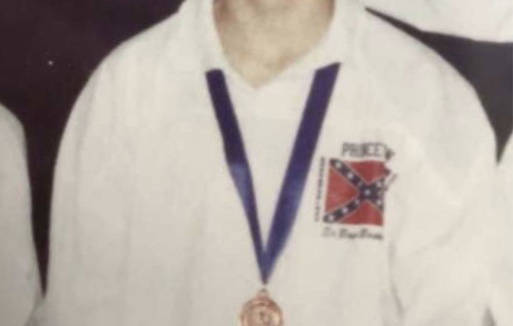 Princeton Secondary School team jerseys, in 1989, displayed the Confederate flag. Photo SD58