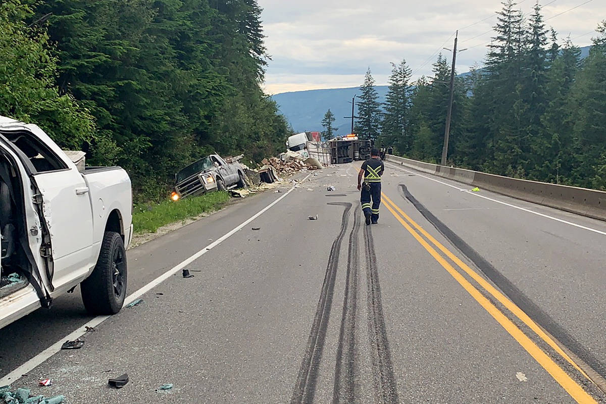 RCMP are looking for witnesses to a multi-vehicle crash July 15 just west of Sicamous. (RCMP photo submitted)