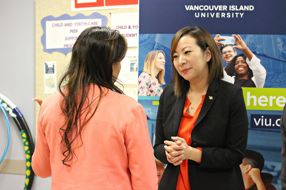 B.C. minister of state for child care Katrina Chen, seen here in Nanaimo earlier this year, announced 536 new licensed child care spaces for Nanaimo and Ladysmith. (News Bulletin file photo)