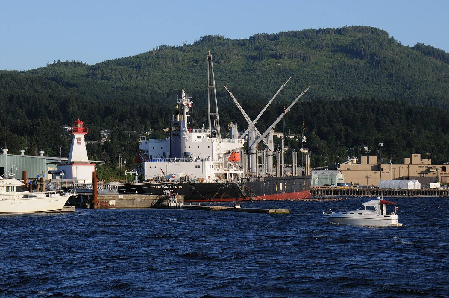 Port Alberni's deepsea harbour was a busy place for a Tuesday evening in mid-July 2020. (SUSAN QUINN/ Alberni Valley News)