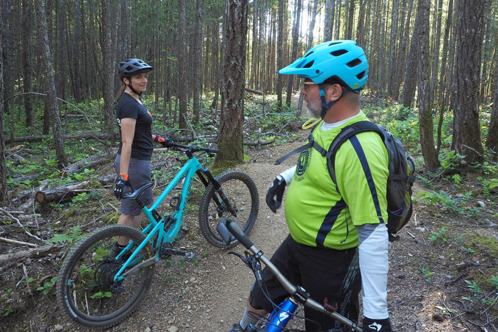 Dana Wacker, president of the Nanaimo Mountain Biking Club, and Chris Hudec check out Fine China, one of more than 60 trails in the Doumont Trails network, which was voted Nanaimo's best place for mountain biking in last year's Best of the City survey. (News Bulletin file photo)