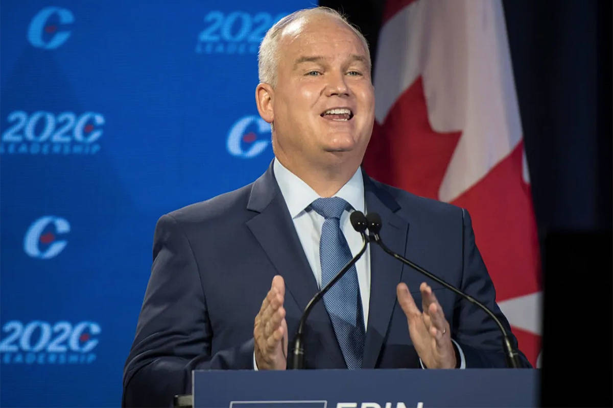 Conservative Party of Canada leadership candidate Erin O'Toole speaks in Toronto on Thursday, June 18, 2020. O'Toole was chosen as the party's leader on Monday. THE CANADIAN PRESS/ Tijana Martin