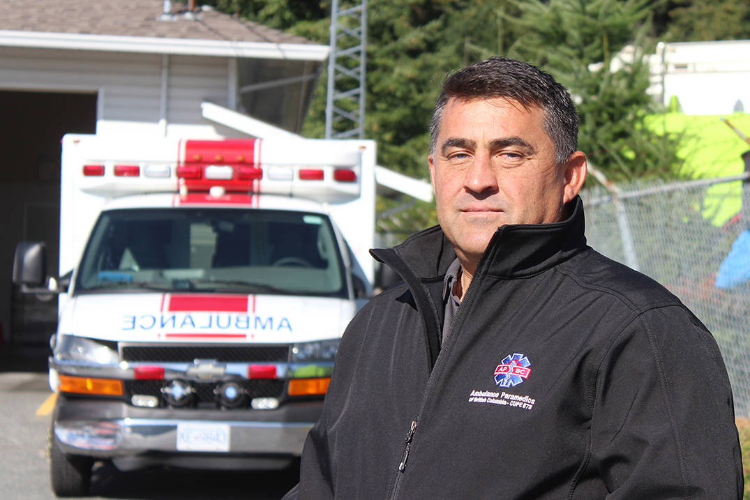 Stuart Myers, B.C. Ambulance Service worker and regional vice-president of CUPE 873, and his peers have had to deal with both COVID-19 and the opioid overdose crises. (Karl Yu/News Bulletin)