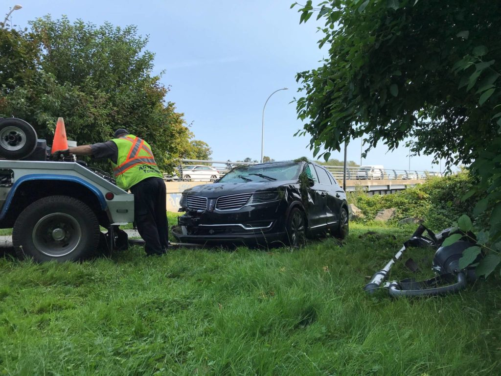 Police believe a single vehicle crash on Bay Street Sept. 3 was triggered by a medical incident. (Kendra Crighton/News Staff)