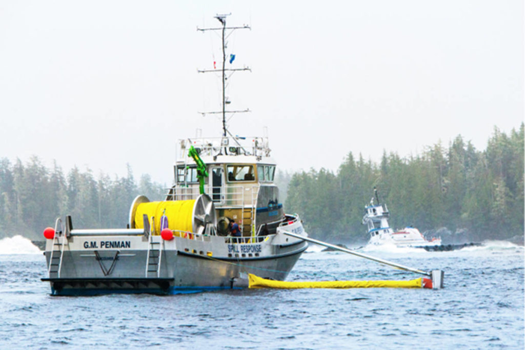Responding to a 2006 spill near Bella Bella when a 10,000-tonne tanker barge ran aground in Seaforth Channel leaking more than 100,000 litres of diesel fuel. (Western Canada Marine Response Corp.)