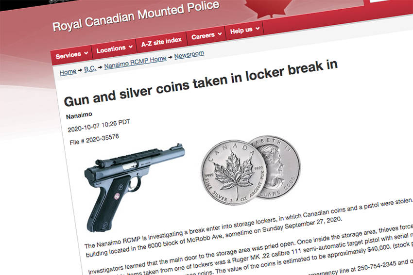 Nanaimo RCMP issued a press release related to a case of a stolen pistol and coins, taken from a storage unit in north Nanaimo on Sept. 27. (RCMP image)