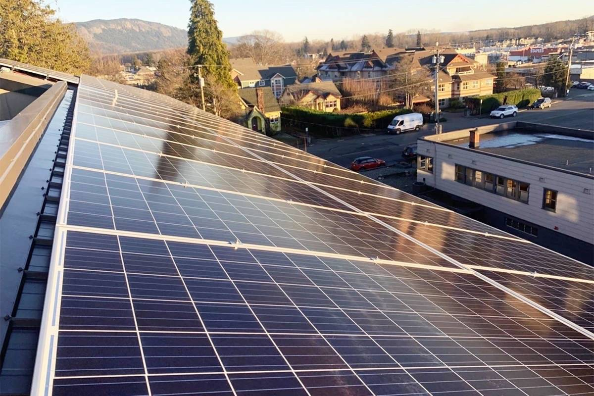 The City of Duncan is hoping for a grant to help pay for a solar-energy project, similar to the one pictured that GreenCoast installed on the roof of the Hilltop Building in Duncan last year, that is planned for the roof of the Duncan fire hall. (File photo)