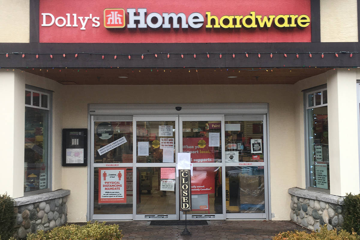 Dolly's Home Hardware closed its doors for a day on Nov. 18, 2020, to conduct a major cleanup after an employee tested positiv for COVID-19. (Michael Briones photo)