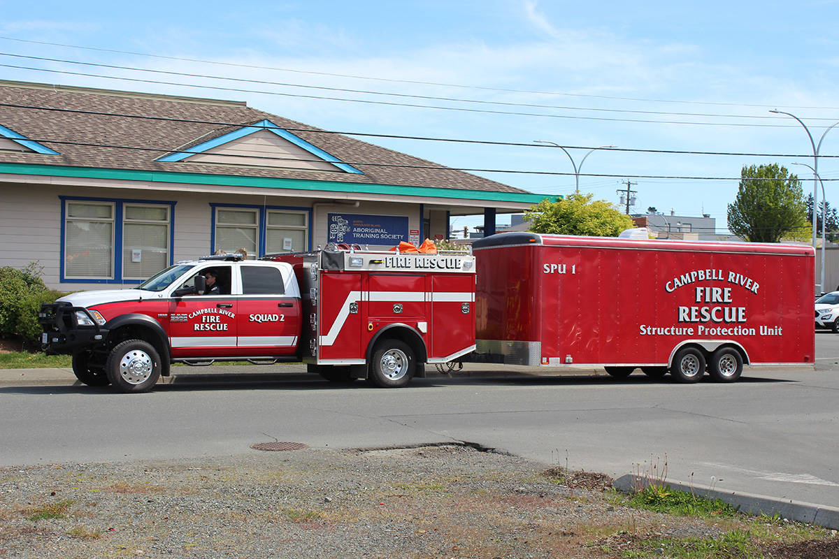 A fire structure protection unit responds to a call in Campbell River. Mayors from smaller communities are voicing their need for more provincial funding to cope with the rising cost of fire services and equipment. Photo by Marc Kitteringham/Campbell River Mirror.