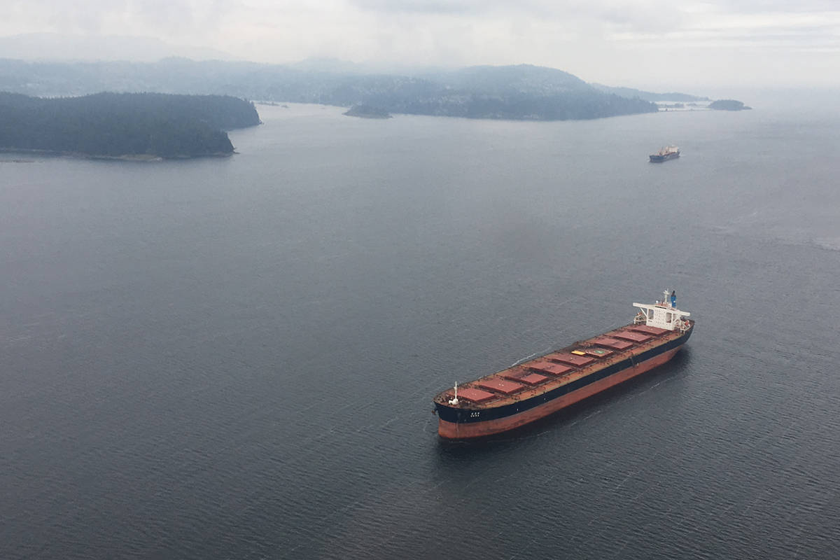 Green Party members of Parliament say there are actions the federal government can take to limit the stays of freighters off the Gulf Islands. (News Bulletin file photo)