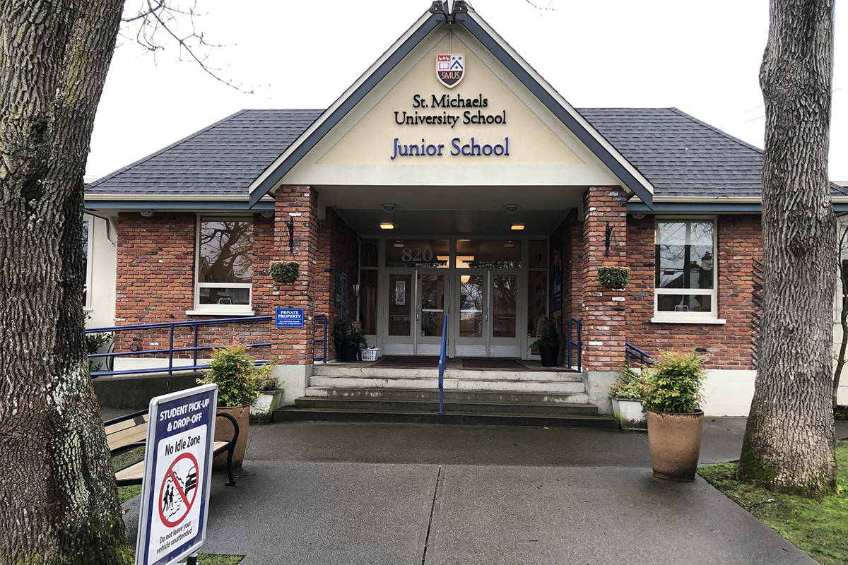 A St. Michaels University School student of the junior campus in Oak Bay has tested positive for COVID-19. (Travis Paterson/News Staff)